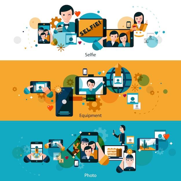 Мобильные фото горизонтальные баннеры Бесплатные векторы