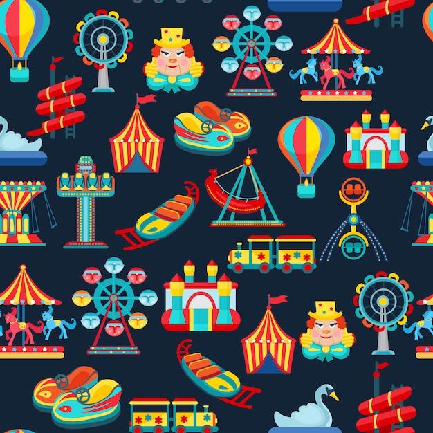 子供用アトラクションと遊園地のシームレスパターン 無料ベクター