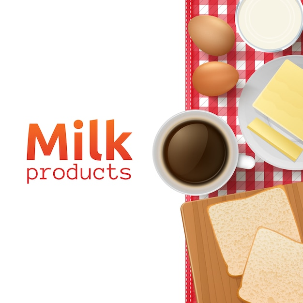 Концепция дизайна молока и молочных продуктов со здоровым и полезным завтраком Бесплатные векторы