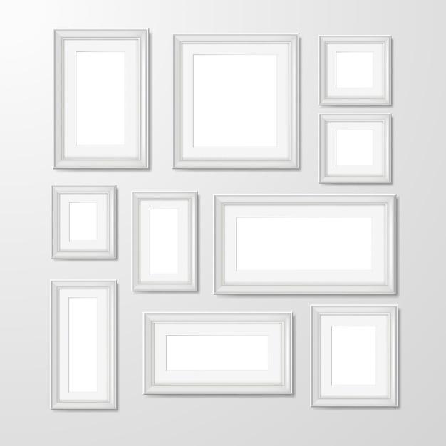 ウォールフォトフレームコレクションの図 無料ベクター