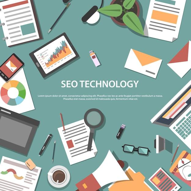 検索エンジン最適化ウェブの概念 無料ベクター