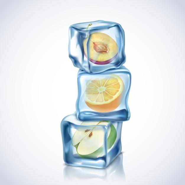 Реалистичные кубики льда с фруктами внутри на белом фоне Бесплатные векторы