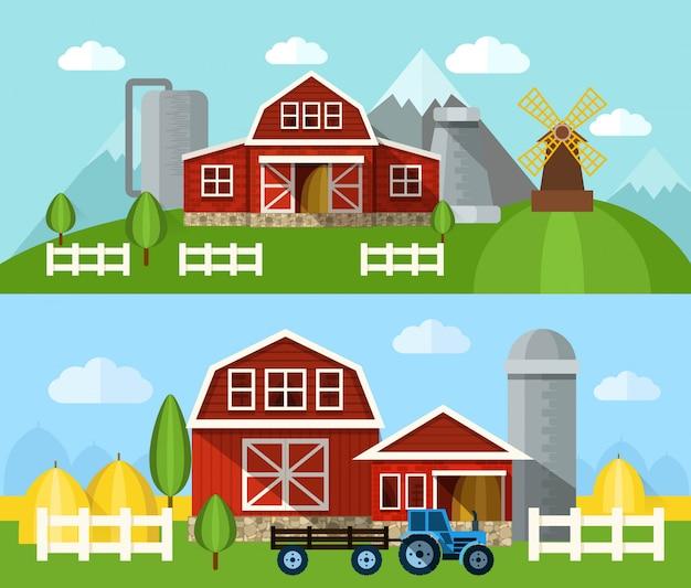 農場フラットバナー 無料ベクター