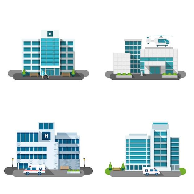 Комплект здания больницы Бесплатные векторы