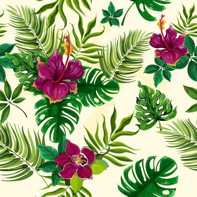 Тропические растения цветы бесшовный фон Бесплатные векторы