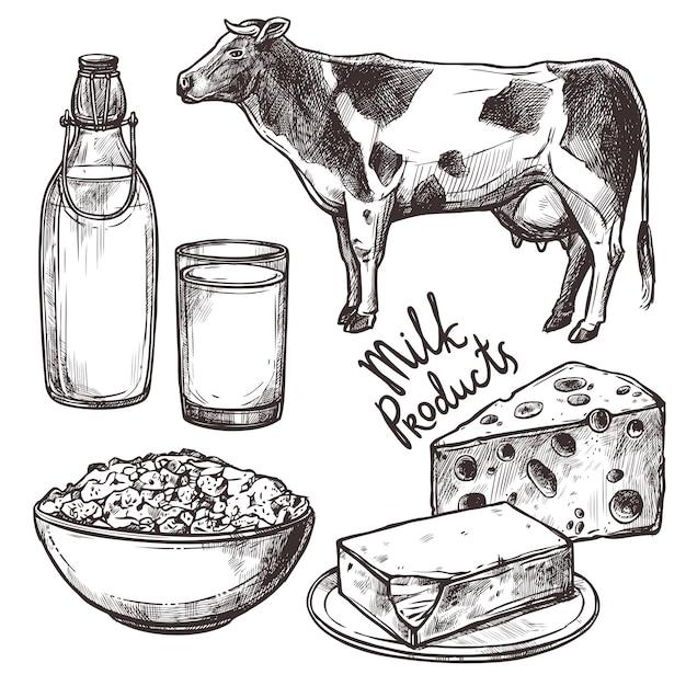 Эскиз набор молочных продуктов Бесплатные векторы