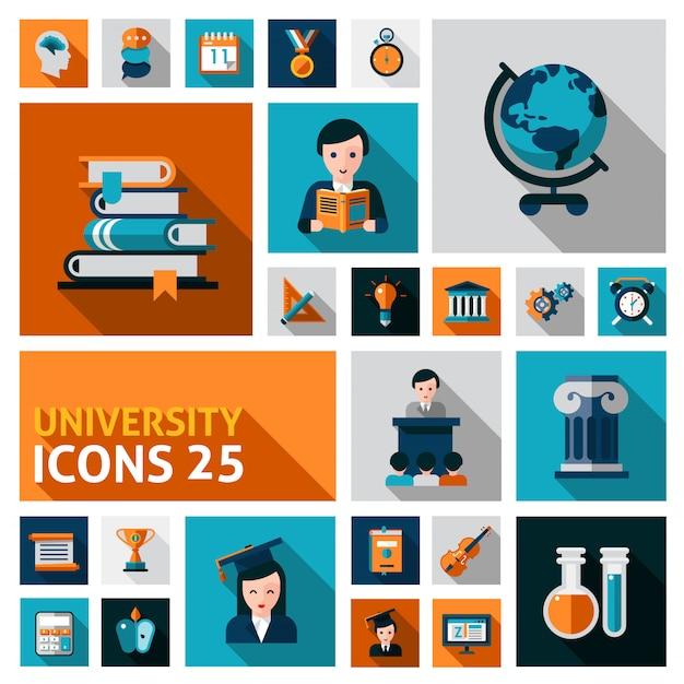 Набор иконок университета Бесплатные векторы