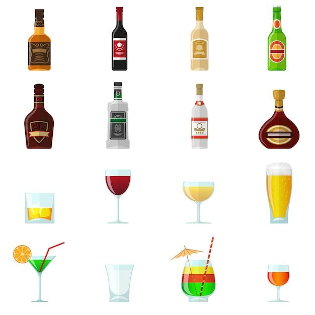 Алкоголь плоские иконки Бесплатные векторы