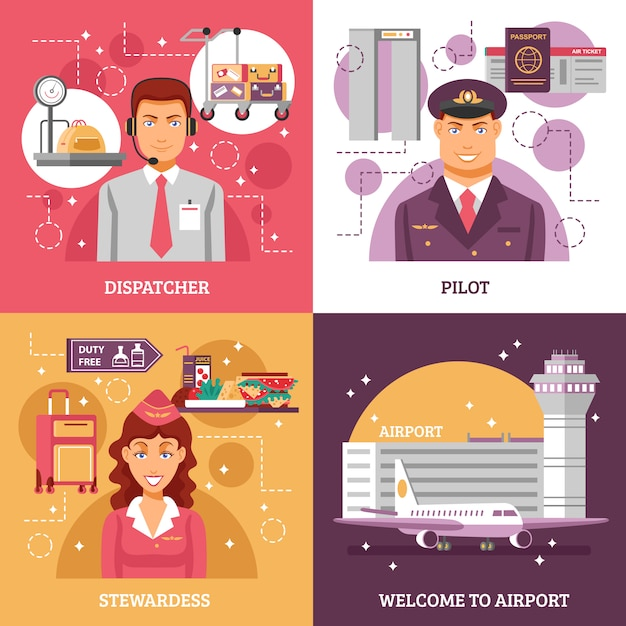 Концепция дизайна аэропорта Бесплатные векторы