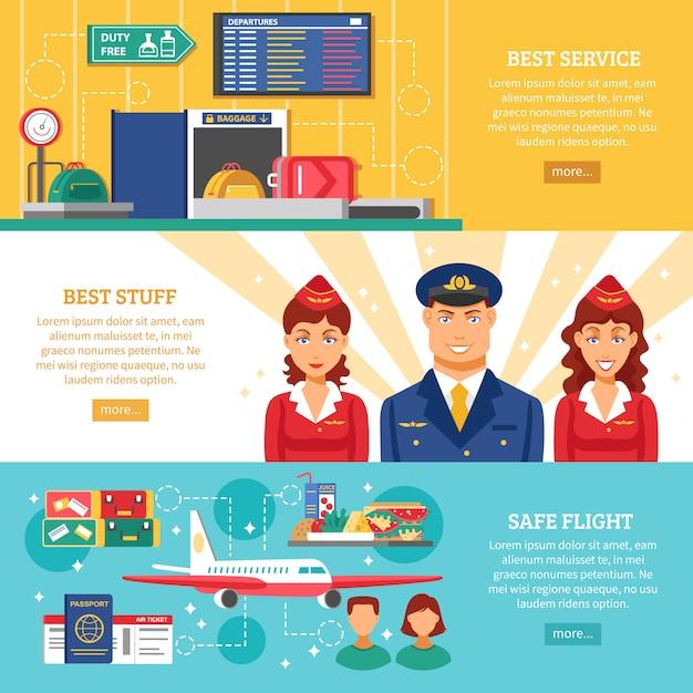 Набор баннеров для аэропортов Бесплатные векторы