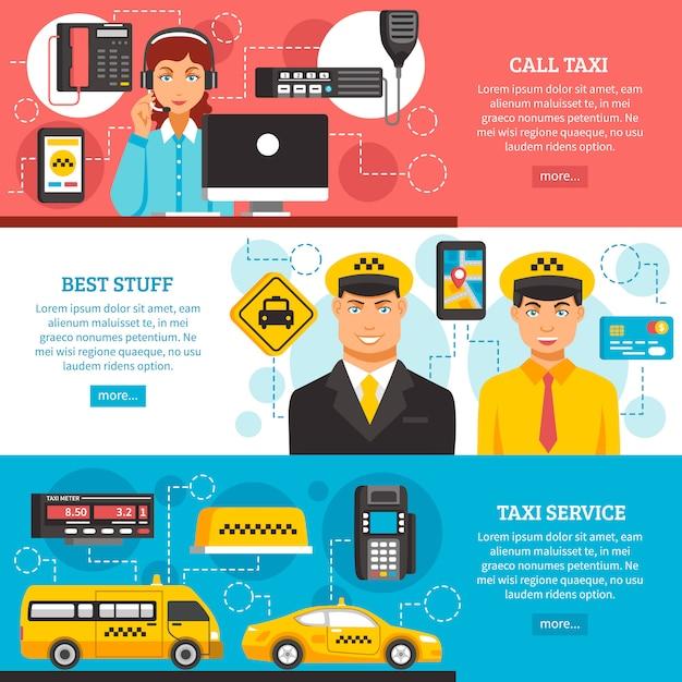 タクシーサービスバナーセット 無料ベクター