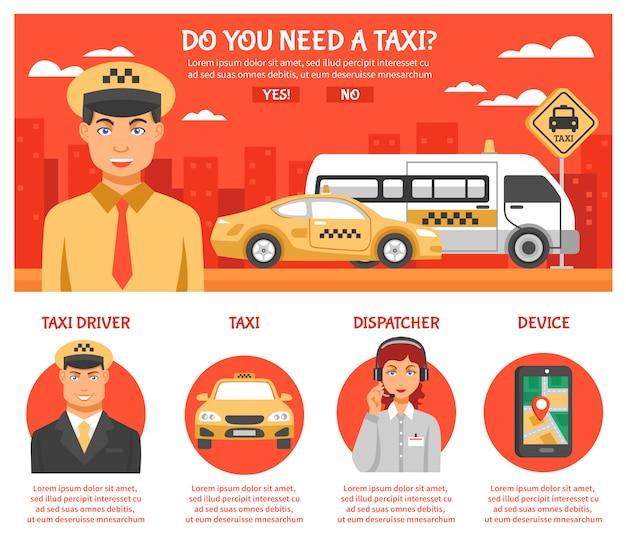 タクシーサービスのインフォグラフィック 無料ベクター