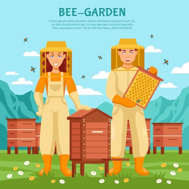 蜂蜜養蜂イラストポスター 無料ベクター