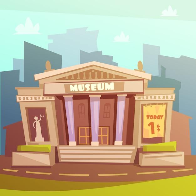 博物館ビルの漫画イラスト 無料ベクター