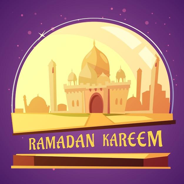 Арабская мечеть рамадан карикатура иллюстрации Бесплатные векторы