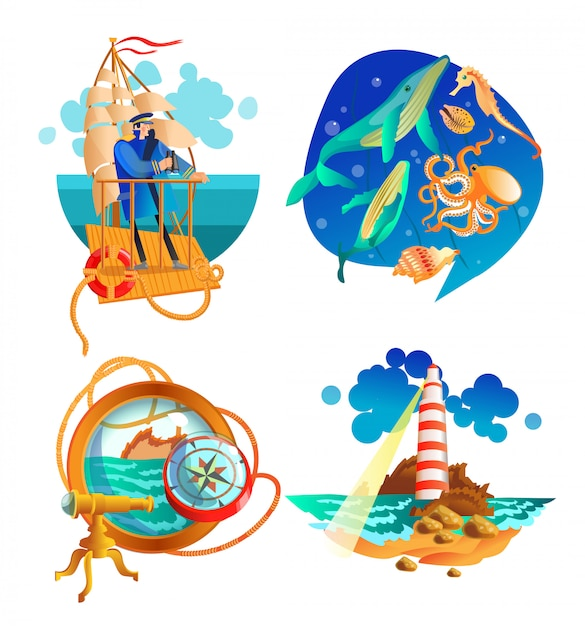 Набор морских символов морского океана Бесплатные векторы