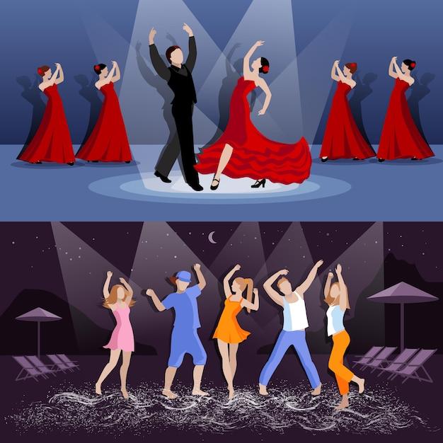 Танцоры в движении баннер Бесплатные векторы
