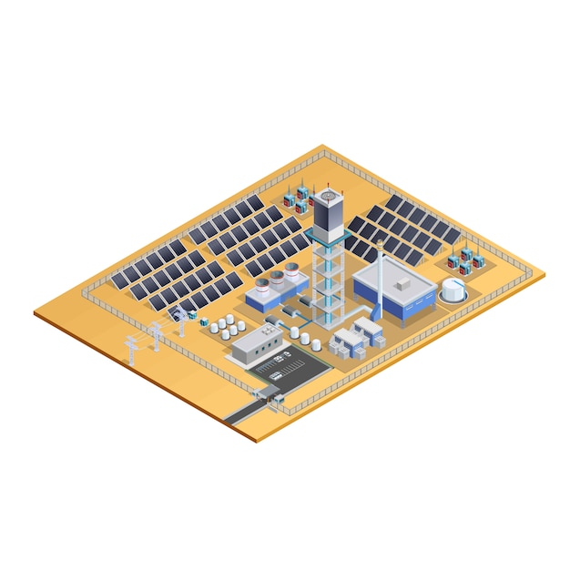 ソーラーステーションモデル等尺性画像 無料ベクター