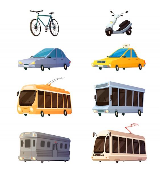 市内交通機関レトロな漫画のアイコンを設定 無料ベクター