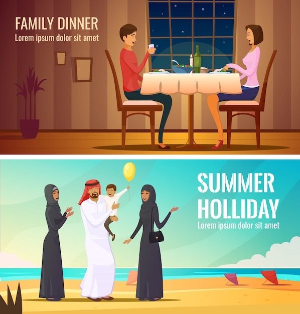 Восточные люди создают композиции с арабской семьей Бесплатные векторы