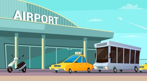 空港ターミナルと市内交通漫画組成 無料ベクター