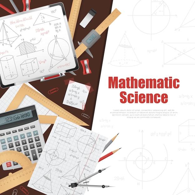 数学科学の背景ポスター 無料ベクター