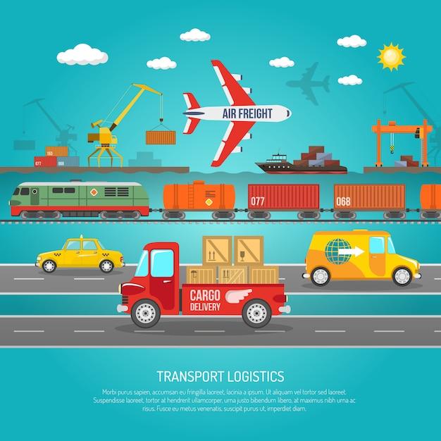 物流交通機関の詳細フラットポスター印刷 無料ベクター