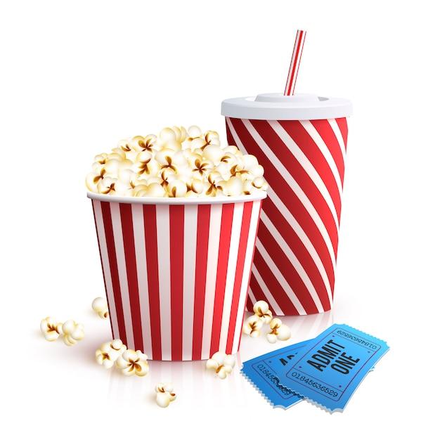 Кола попкорн и билеты Бесплатные векторы