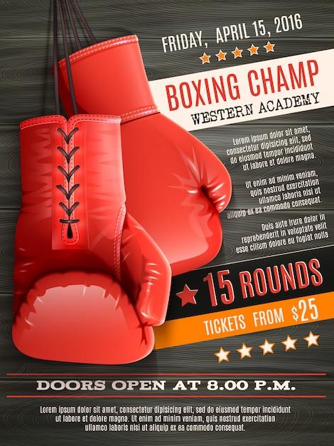 手袋ボクシングポスター 無料ベクター