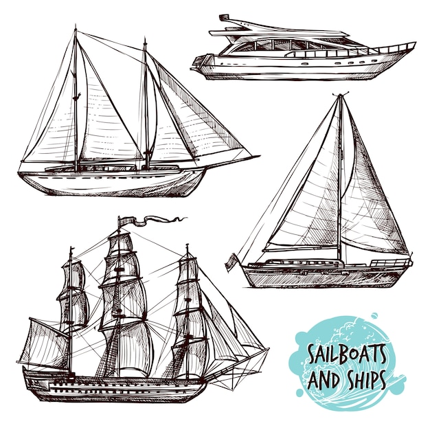 帆船セット 無料ベクター