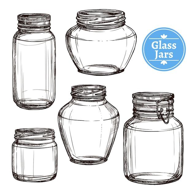 Набор стеклянных банок Бесплатные векторы