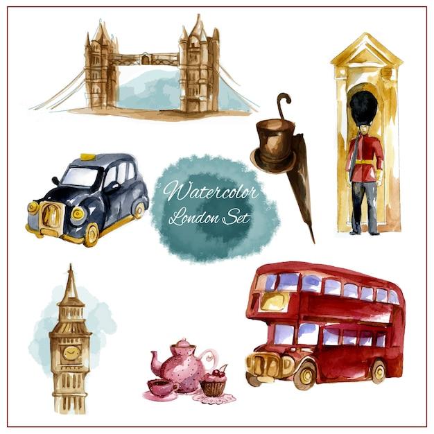 Акварельный лондонский набор Бесплатные векторы