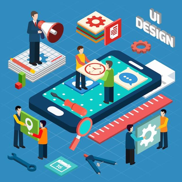 ユーザーインターフェースデザインコンセプトシンボルレイアウト 無料ベクター