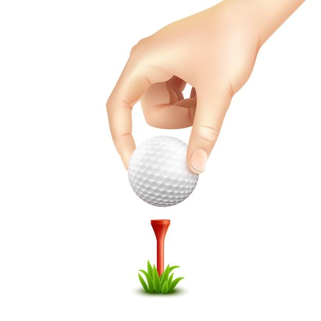 ゴルフボールのリアルな背景 無料ベクター