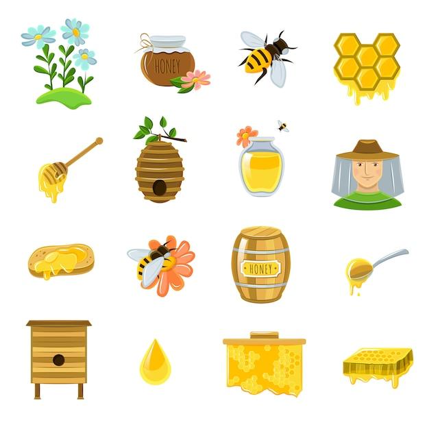 蜂蜜のアイコンを設定 無料ベクター