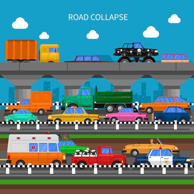 道路崩壊の背景 無料ベクター