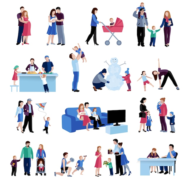 Набор плоских иконок семейных ситуаций для родителей Бесплатные векторы