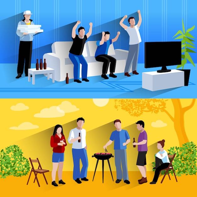 Друзья смотрят телевизор Бесплатные векторы