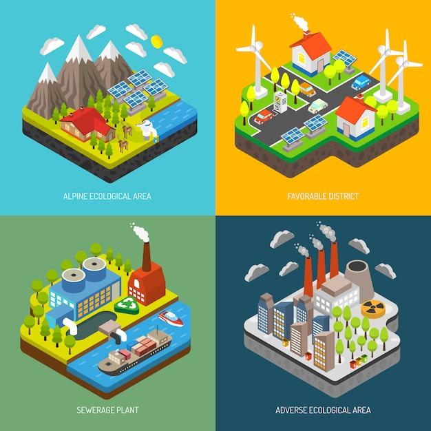 環境汚染と保護 無料ベクター