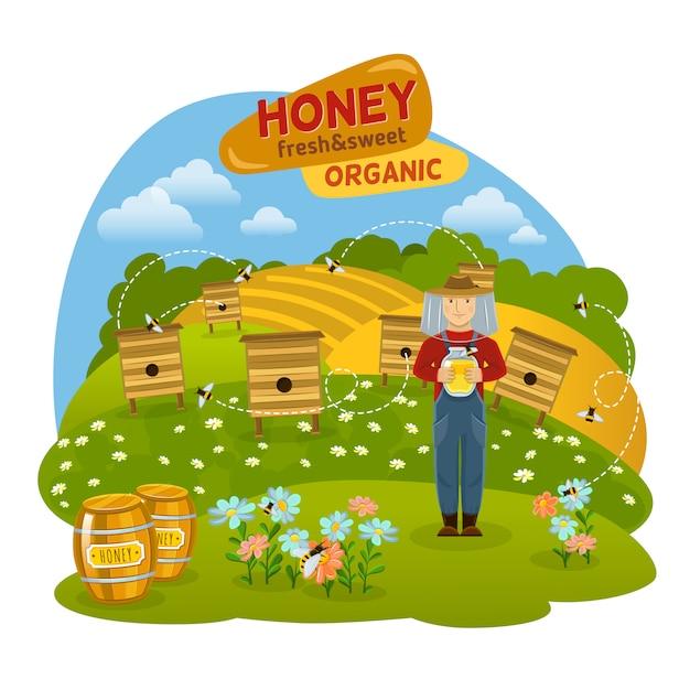 蜂蜜の概念図 無料ベクター