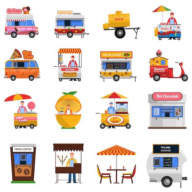 Набор иконок уличной еды Бесплатные векторы