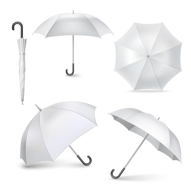 Установить реалистичные открытые закрытые иконки зонтик Бесплатные векторы