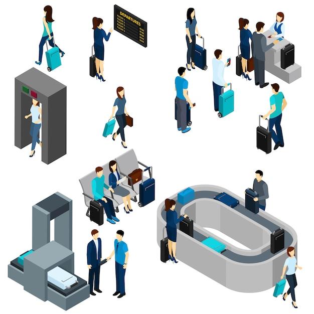 Люди в аэропорту изометрические Бесплатные векторы