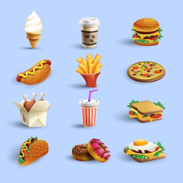 Фастфуд иконки мультяшный набор Бесплатные векторы