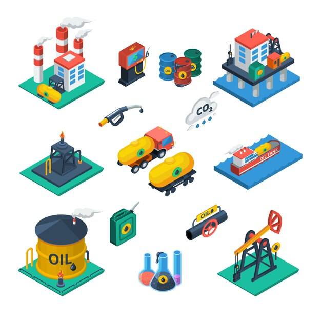 石油産業等尺性のアイコンを設定 無料ベクター