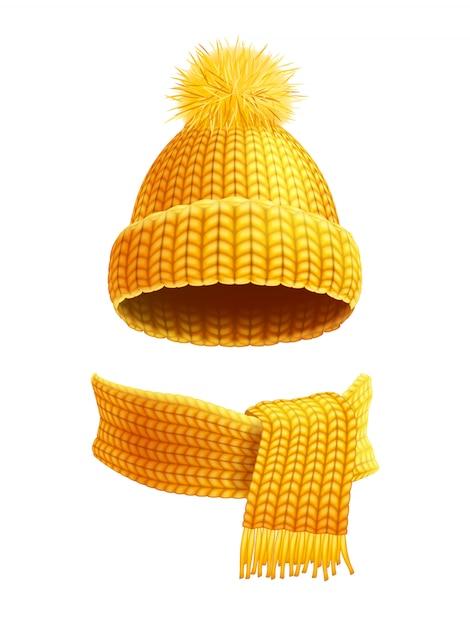Вязаная шапка и шарф с плоским иллюстрация Бесплатные векторы