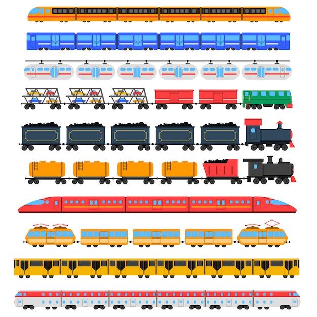 Набор иконок поездов Бесплатные векторы