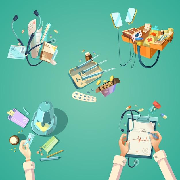 Медицинский мультфильм ретро набор Бесплатные векторы