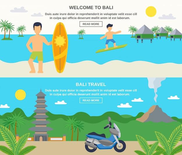 Бали туристические баннеры Бесплатные векторы