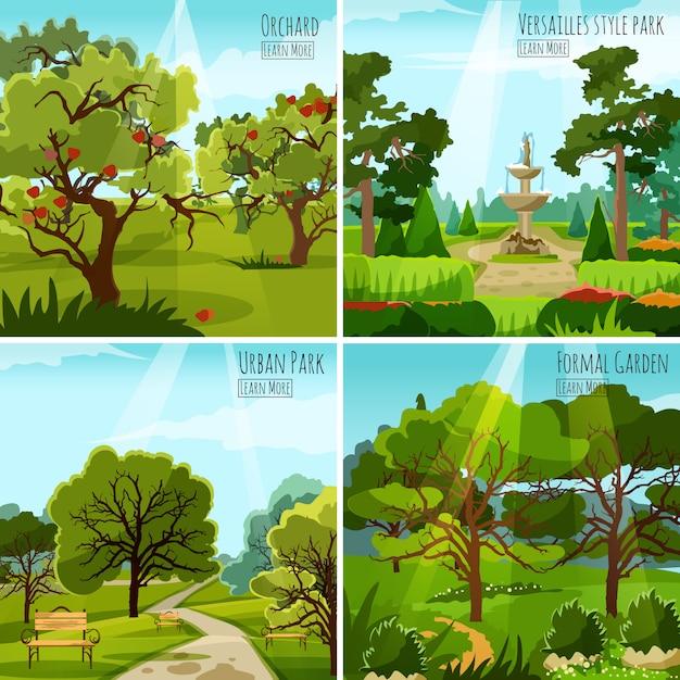 庭園景観デザインコンセプト 無料ベクター
